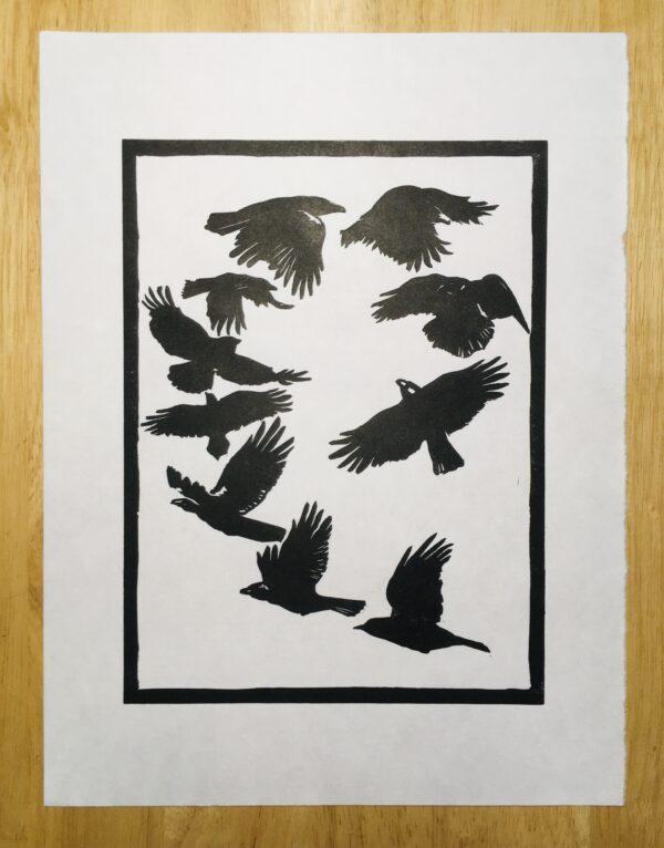 Handprinted linocut, printed in black ink on Japanese Hosho paper